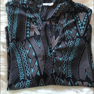 Lush geometric print blouse blue and pink pleated